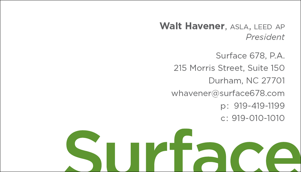 Surface 678 Business Card